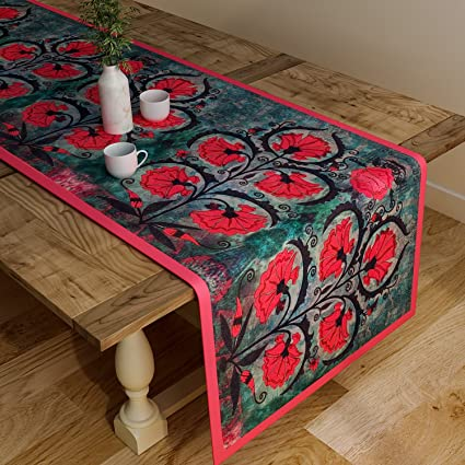 SEJ by Nisha Gupta Cotton Table Runner (Grey, 12x48-inch)