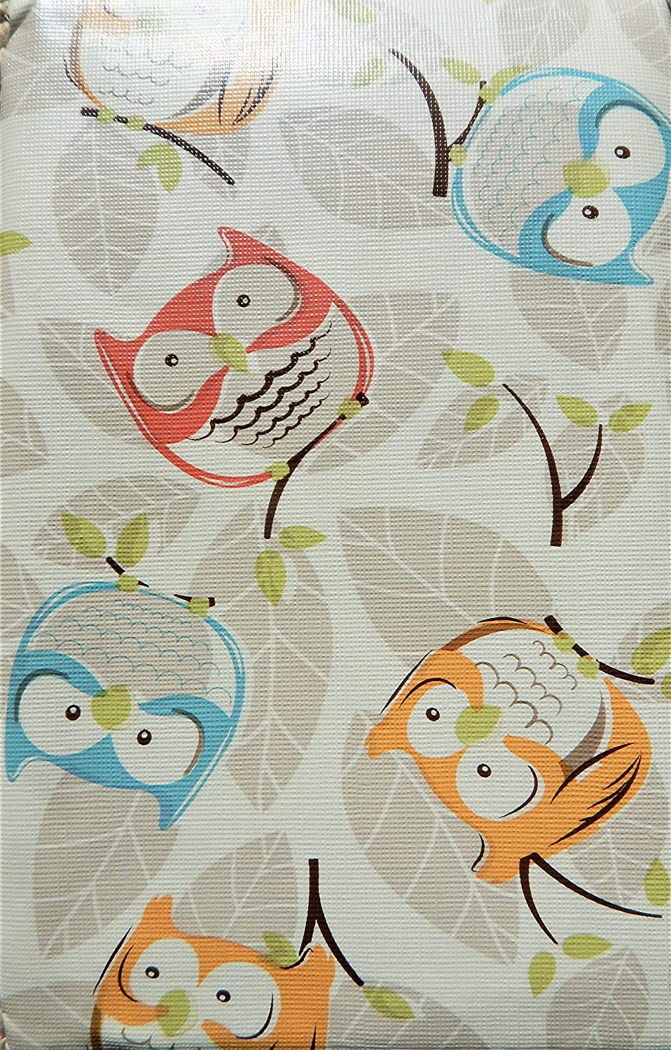 """Crabtree Collection Vinyl Tablecloth: Indoor/Outdoor Dining Flannel Backed Table Cover  Home, Restaurant, Party Tablecloth  Easy to Clean & Sturdy  Picnic, BBQ, Holiday Owl Print Tablecloth (60""""x84"""")"""
