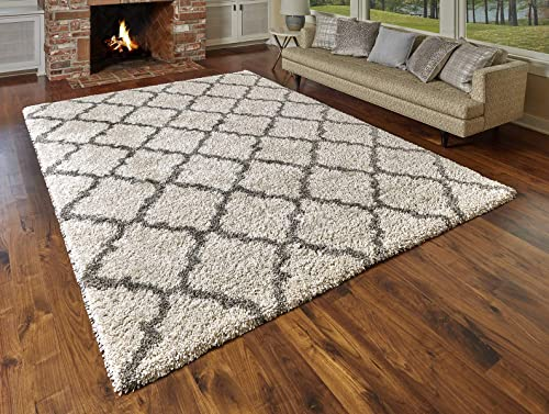 Gertmenian True Shags Collection Geometric Ivory Shag Rug 8×10 – Soft Olefin Yarn 2 Inch Thick in Luxury White Tile Solid Color Area Rugs