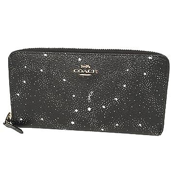 glatt Top Marken neueste COACH F29946 Accordion Zip Wallet with Celestial Print Black ...