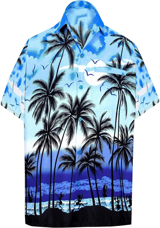 LA LEELA | Funky Camisa Hawaiana | Señores | XS-7XL | Manga Corta ...