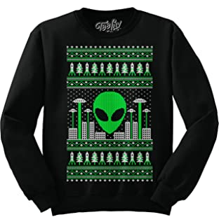 1fdabfe08f7a Tee Luv Alien Christmas Sweatshirt - Alien Invasion UFO Graphic Holiday  Sweater