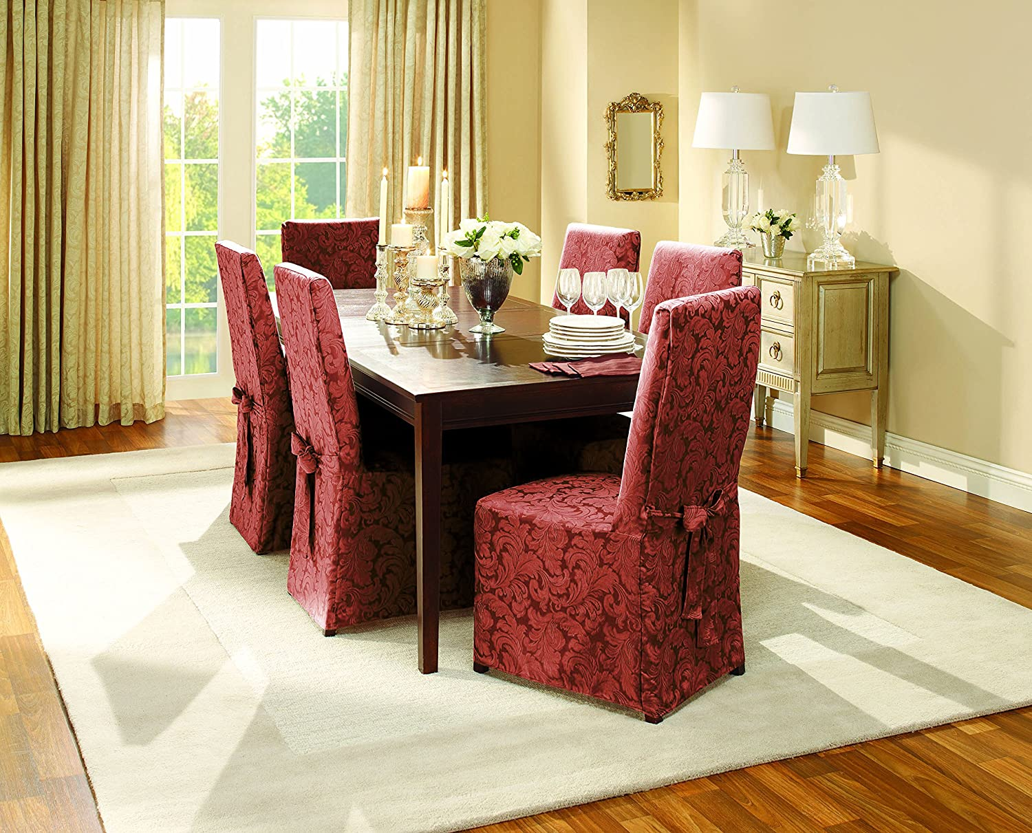 Burgundy dining room chair covers - Amazon Com Sure Fit Scroll Dining Room Chair Slipcover Burgundy Sf35464 Home Kitchen