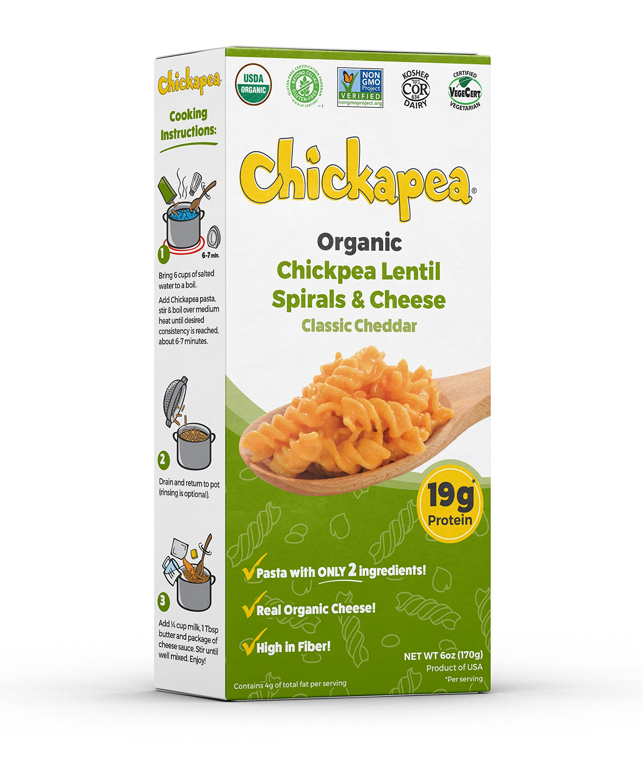 Chickapea Organic Chickpea and Red Lentil Spirals and Cheddar - Gluten-Free Macaroni and Cheese Rotini Pasta - 6 oz Each (Pack of 6)