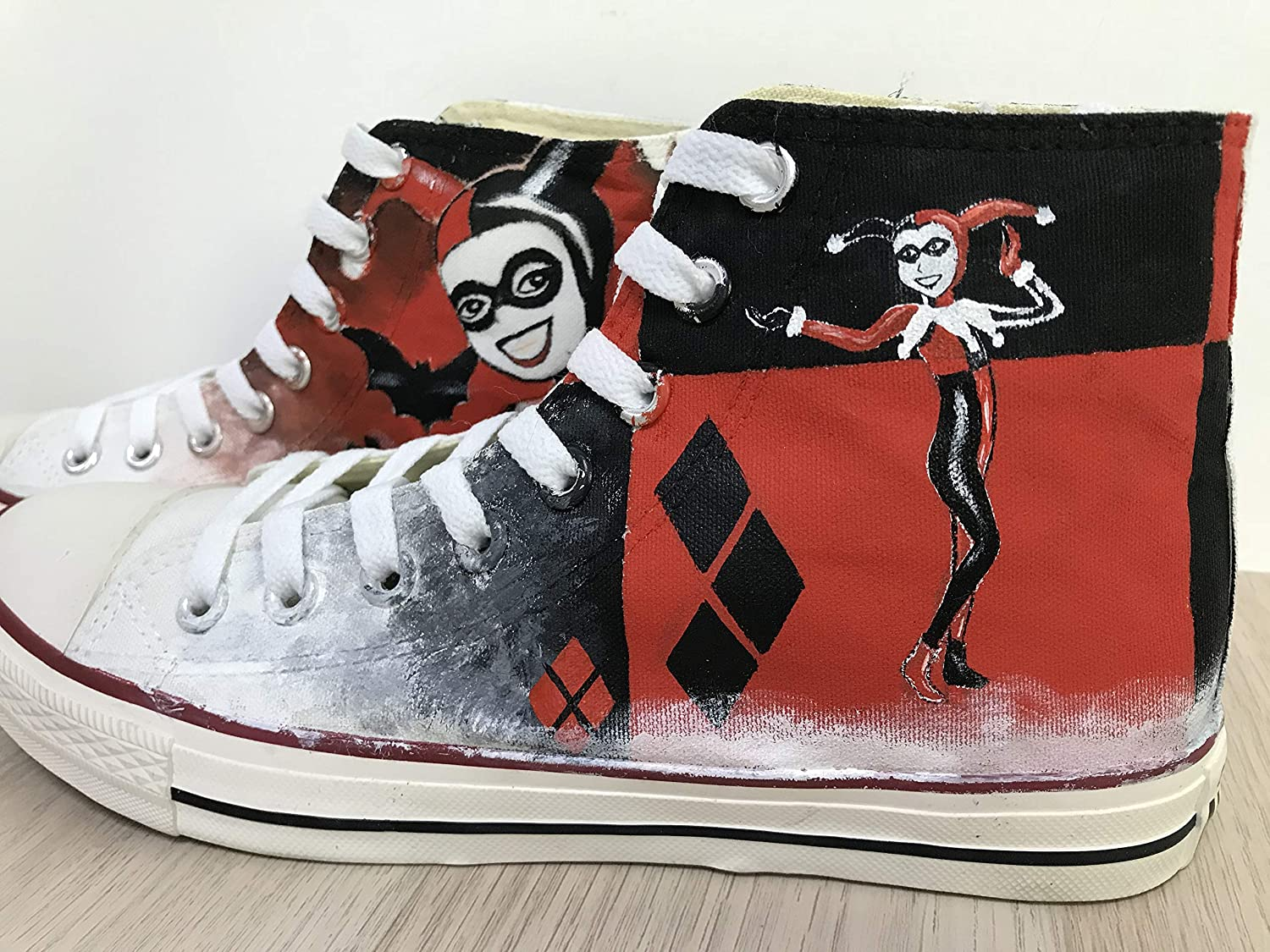 4ad9714473ce Amazon.com  Harley Quinn Suicide Squad Custom Chuck Taylor Riverdale Shoes  Sneakers For Girls Hand Painted Shoes Hi Top Shoes Custom Chuck Taylors Men  Women ...