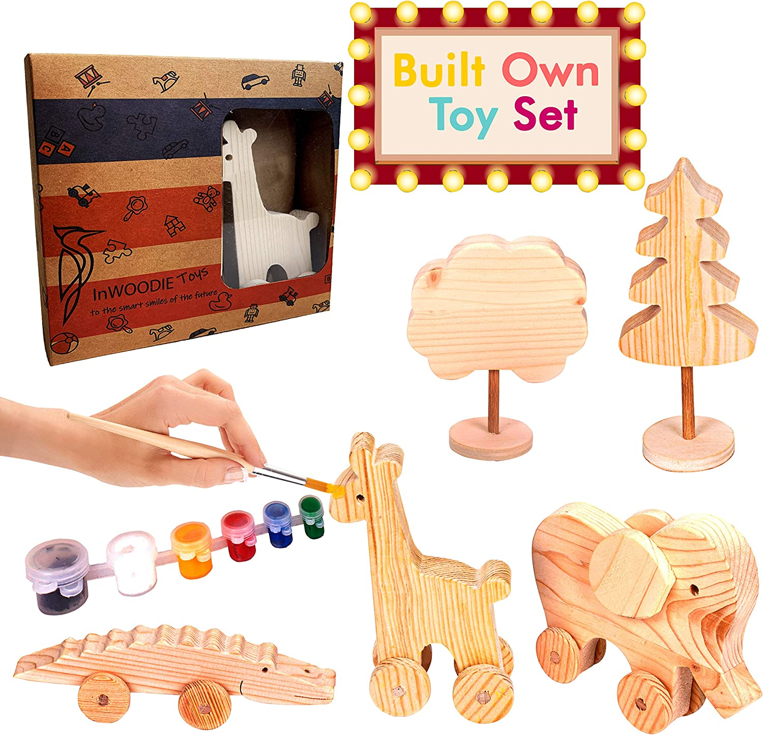 Wooden Toys, Paint Set for Kids 4-8, Craft for Kids Ages 4-8, Great Gift Toys for Boys Girls, Paint Your Own Elephant, Giraffe, Crocodile, Made from Organic Pine Tree, Best for 4, 5, 6 8 Years Olds