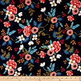 Cotton + Steel Rifle Paper Co. Les Fleurs Rayon Challis Birch Floral Navy Fabric By The Yard
