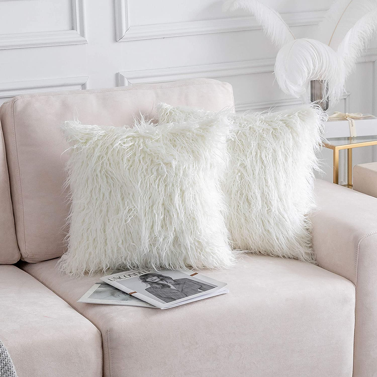 Home Brilliant Merino Style Mongolian Decorative Faux Fur Throw Pillow Covers Cushion Pillowcases for Couch, 20x20inches, 50cm, Set of 2, Off White