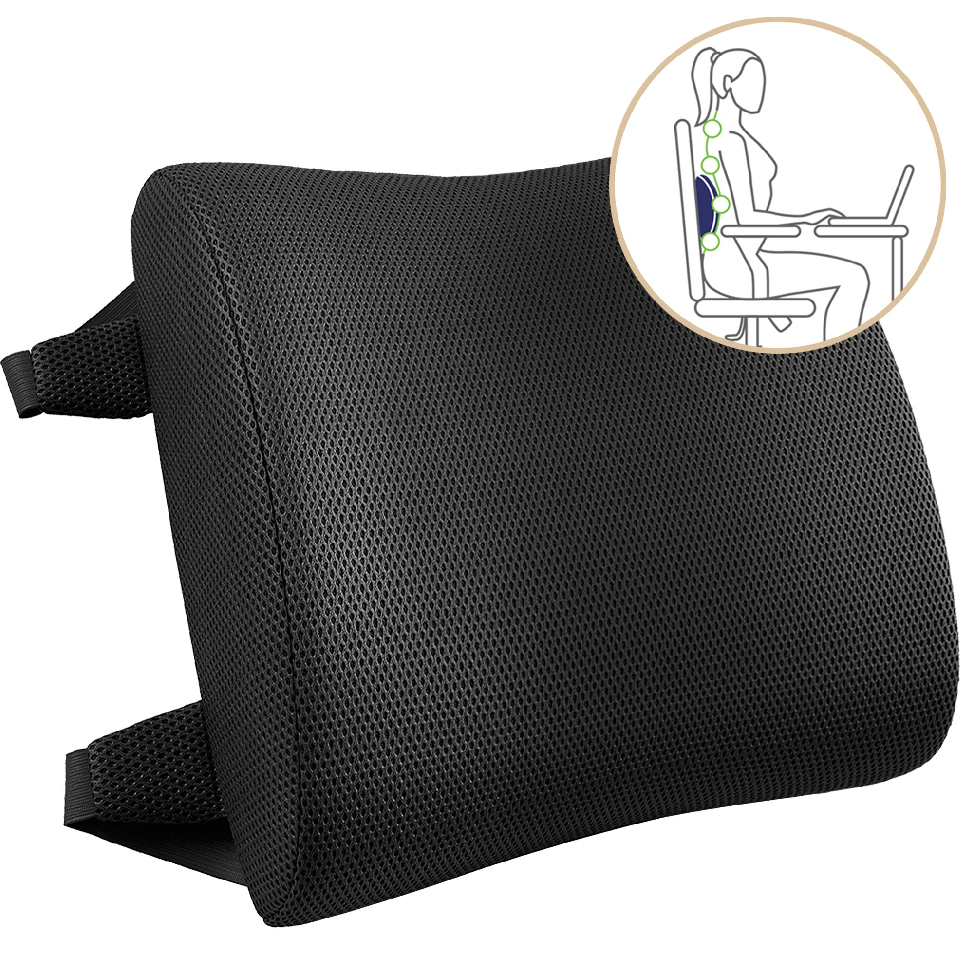 Ergonomic Memory Foam Backrest Cushion - Lumbar Support for Lower Back Pain Relief - Ideal Portable Orthopedic Seat Pillow for Car and Computer/Office Desk Chair