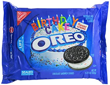 Amazoncom Oreo Chocolate Sandwich Cookies Birthday Cake 1525 Ounce