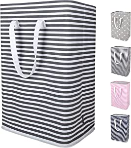 DOKEHOM 24-Inches Thickened X-Large Laundry Basket with Drawstring, Waterproof Square Cube Cotton Linen Collapsible Storage Basket (Grey Strips, XL)