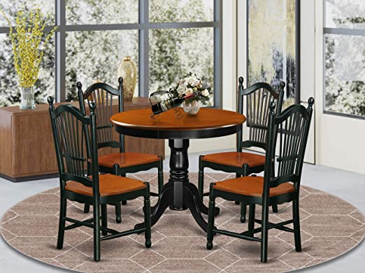 Amazon Com East West Furniture Dining Table Set 4 Wonderful Wooden Chairs A Wonderful Dining Room Table Wooden Seat Cherry And Black Round Wooden Dining Table Furniture Decor
