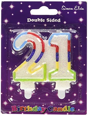Birthday Candle Number 21 White Joint Glittery With A Light Blue Red Dark Purple Yellow And Green Outline Of Both Numbers