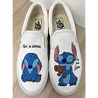 a669dd06c9 Lilo   Stitch Women s Vans Slipon Shoes Custom Stitch Anime Shoes Vans  Custom Hand Painted Shoes