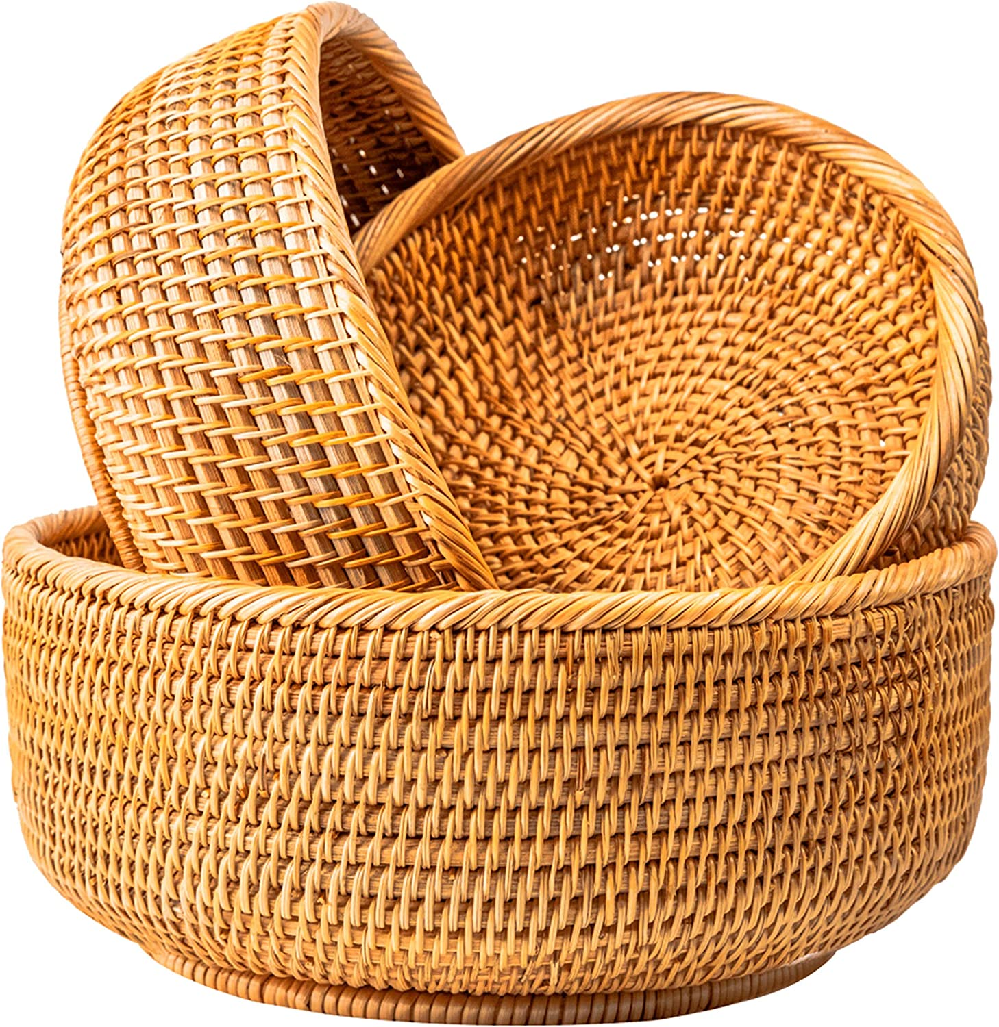 Wicker Woven Fruit Baskets For Bread Vegetable Bowl Food Storage Organizing Kitchen Counter Desk Countertop Small To Large Natural Rattan Round Basket Serving Bowls Chips Set of 3 (Honey Brown)