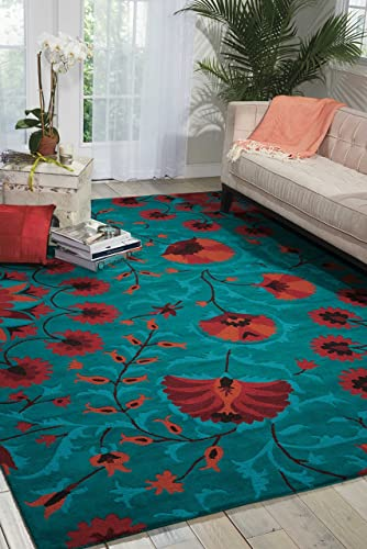 Nourison Suzani Teal Rectangle Area Rug