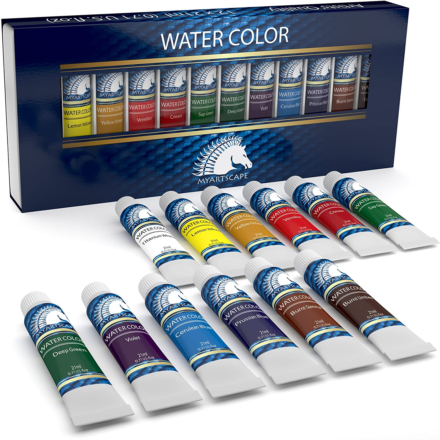 Watercolor Paint Set - Artist Quality Paints - 12 x 21ml Vibrant Colors - Rich Pigments - Professional Supplies by MyArtscape (Set of 12 x 21ml)