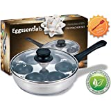 PremiumWares- Eggssentials Poached Egg Maker - Nonstick 6 Egg Poaching Cups - Stainless Steel Egg Pan FDA Certified Food Grade Safe PFOA Free