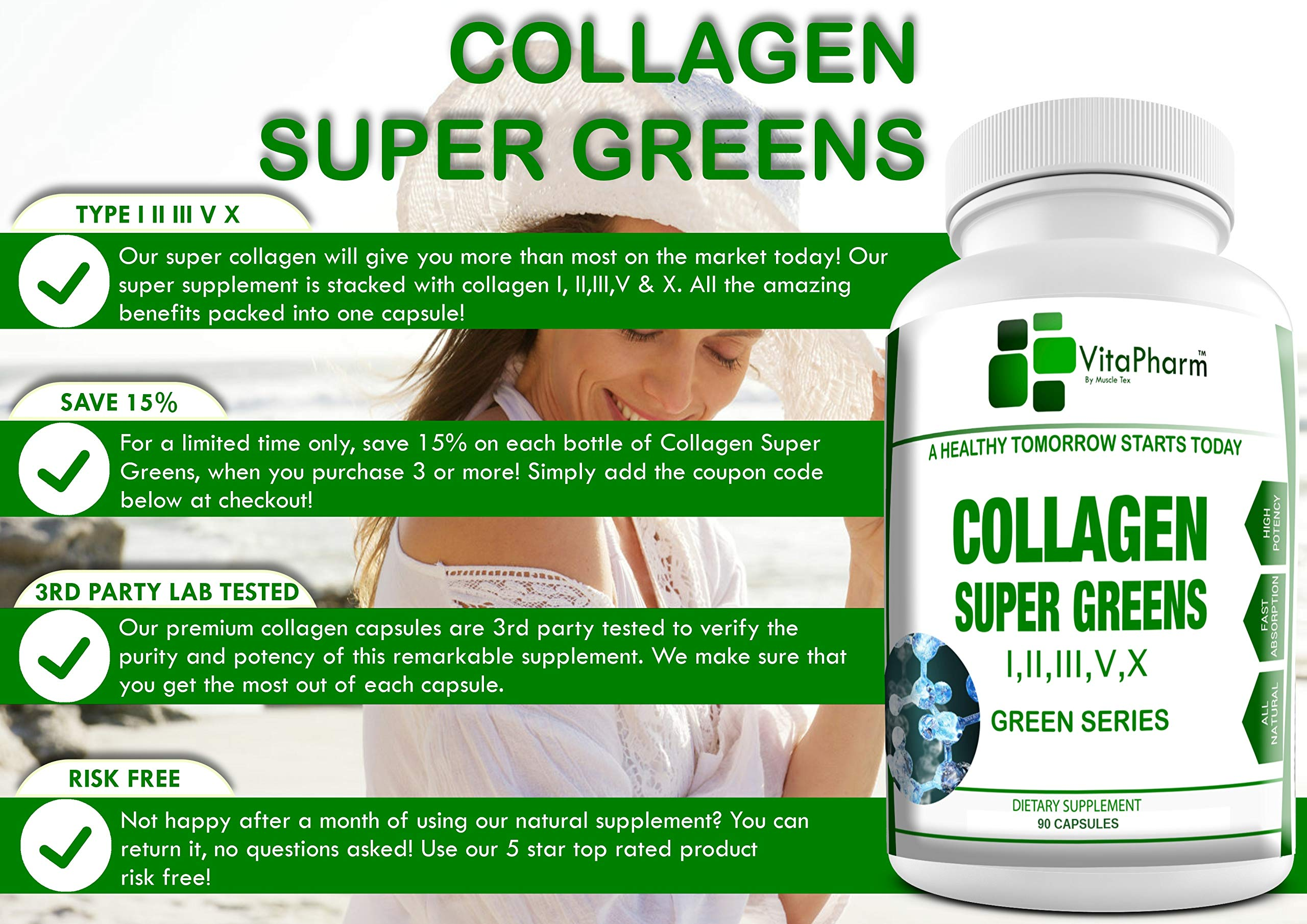 Multi Collagen SUPERGREENS by VitaPharm Nutrition | Types I, II, III, V & X Peptides with Bio-Availability Enhancer | Blend for Anti-Aging, Hair, Skin, Nails and Joints | 90 Capsules