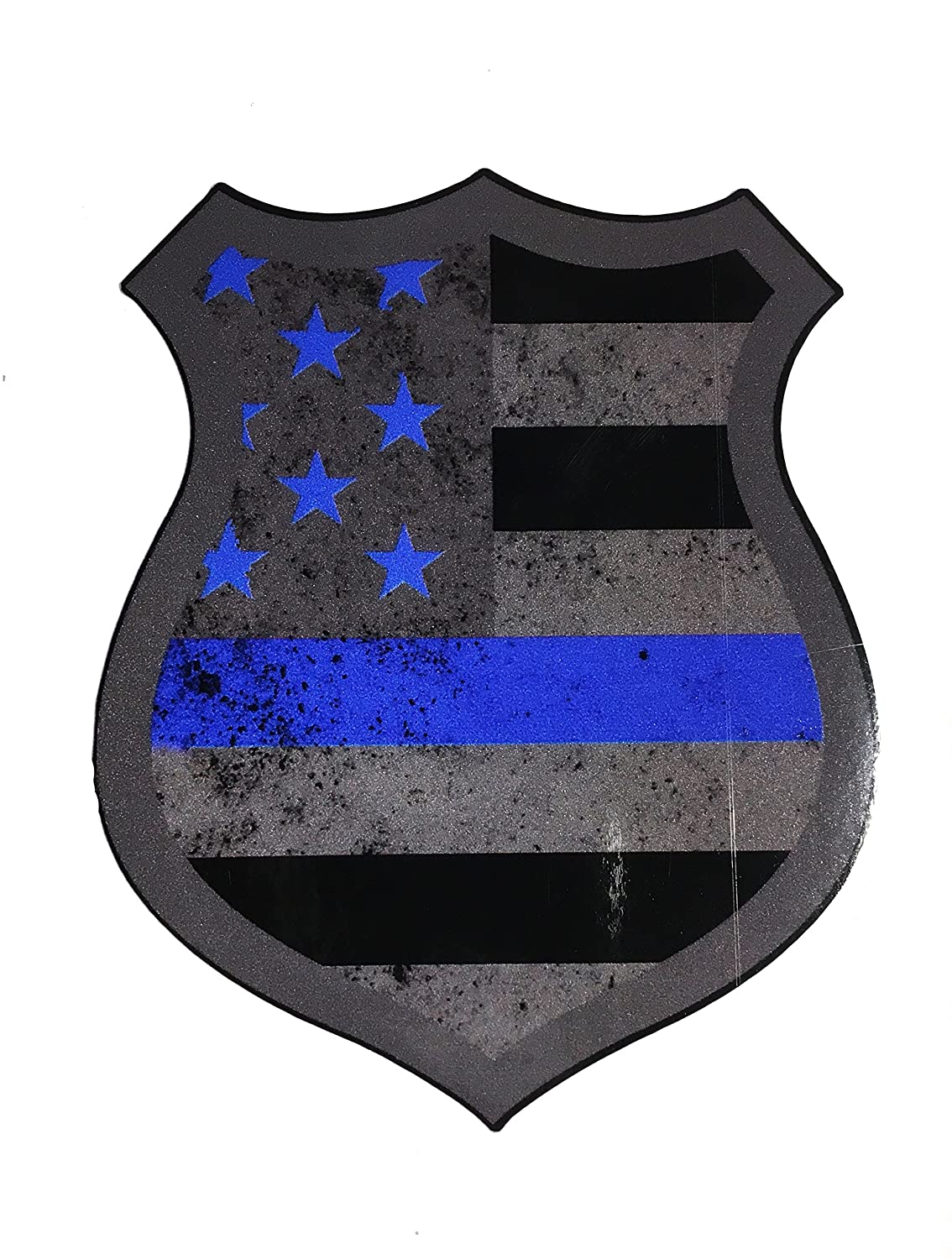 Empire Tactical USA The Tattered Police Thin Blue Line Shield Reflective  Badge Decal Sticker Ultra Us Made 3m Vinyl Brand Die Cut, 3 5 x 3 inch