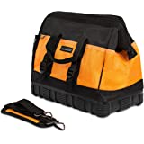 Internet's Best Soft Sided Tool Bag | 16 Inch | 18 Pockets | Wide Mouth Ultra-Rigid Base Tool Storage and Organizer Box