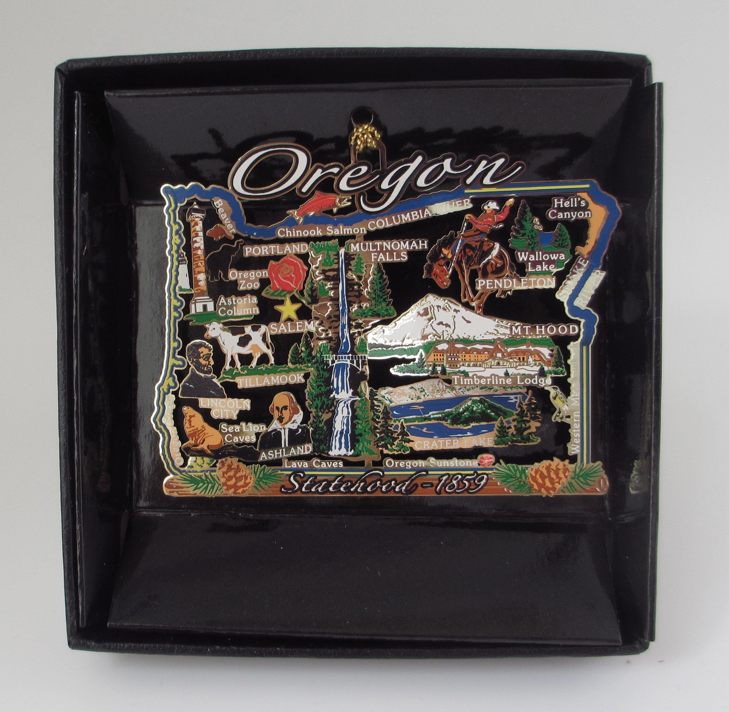 Oregon State Ornament Color Brass Black Leatherette Gift Box