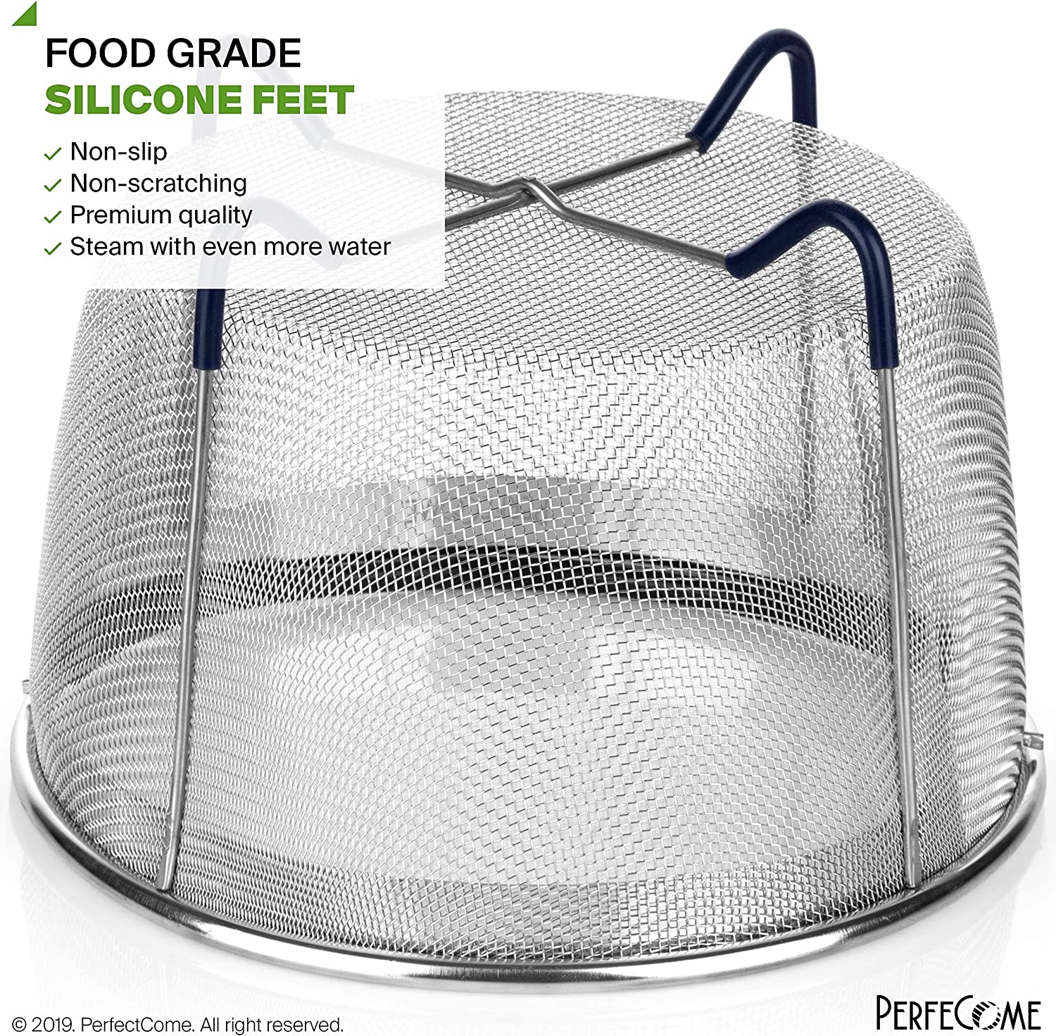Steamer Basket for 6 and 8 Quart Pressure Cooker PerfeCome Ninja Foodi 8 Quart Emeril and Other IP Stainless Steel Insert with Silicone Covered Handle and Legs fits Instant Pot 6