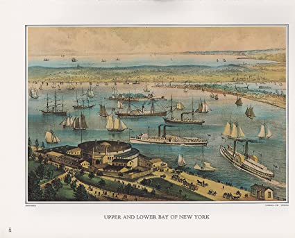 Upper and Lower Bay of New York   a Currier and Ives  print