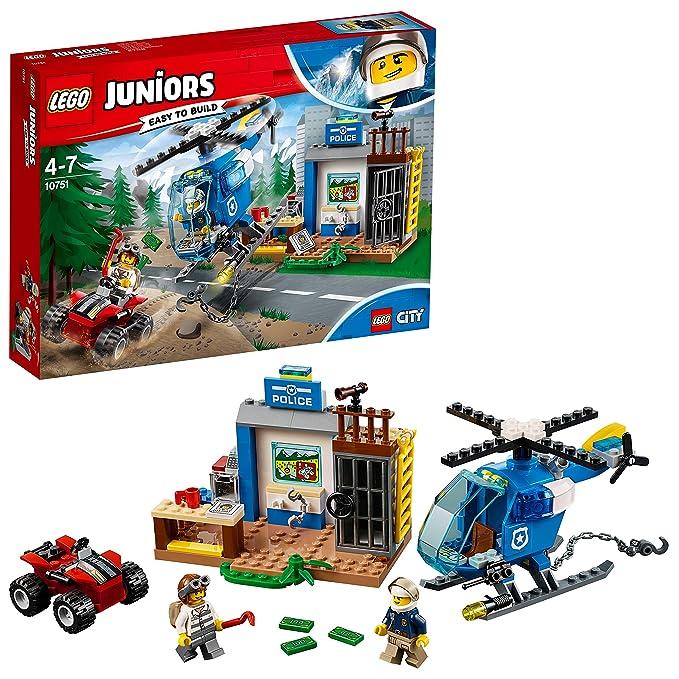 LEGO Juniors - Persecución Policial en la Montaña, Juguete de Policía de Construcción con Helicóptero para Niños de 4 a 7 Años, Incluye Minifiguras y ...