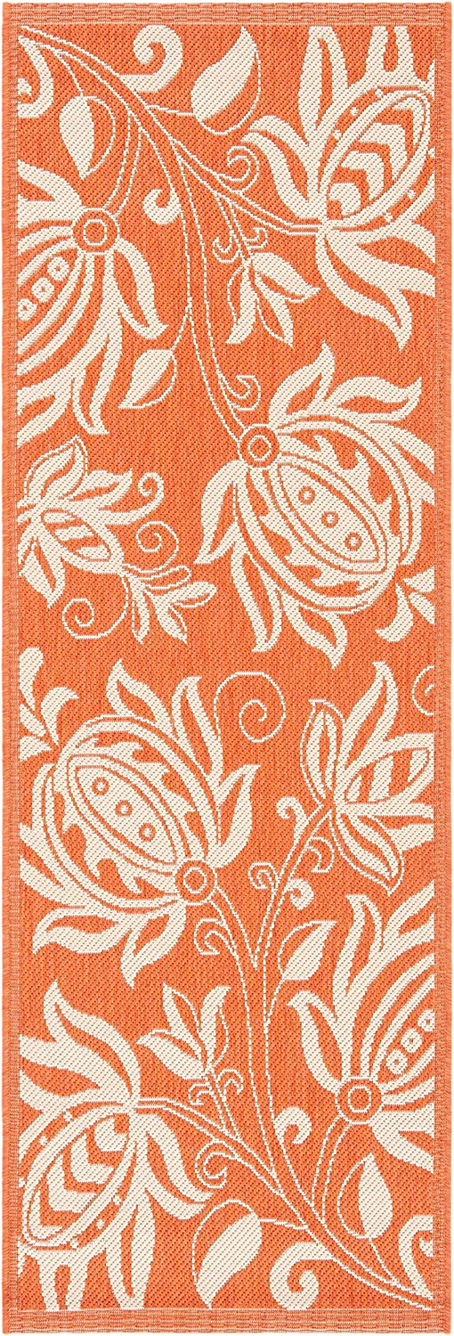 "Safavieh Courtyard Collection CY2961-3202 Terracotta and Natural Indoor/ Outdoor Runner (2'3"" x 10')"