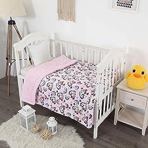 Elegant Homes Kids Soft & Warm Sherpa Baby Toddler Boy Blanket Printed Borrego Stroller or Baby Crib or Toddler Bed Blanket Plush Throw 40X50 (Unicorn Rainbow)