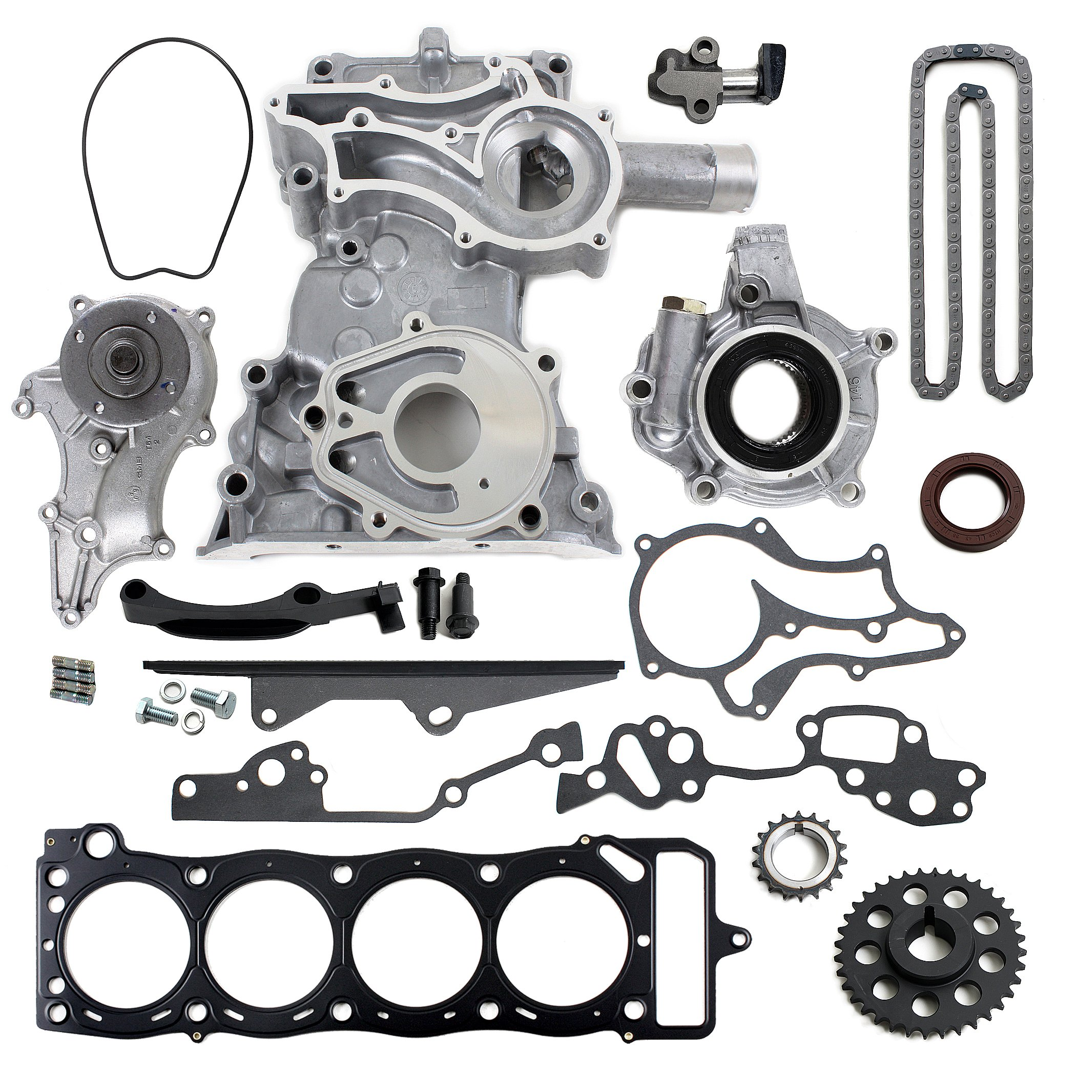 NEW TK2060TCWPOPHG Timing Chain Kit (1 Heavy Duty Metal Straight Guide) with Timing Cover, Water Pump, & Multiple Layer Steel Head Gasket / 85-95 Toyota 2.4L 4Runner Pickup Celica Engine 22RE 22REC by CNS EngineParts