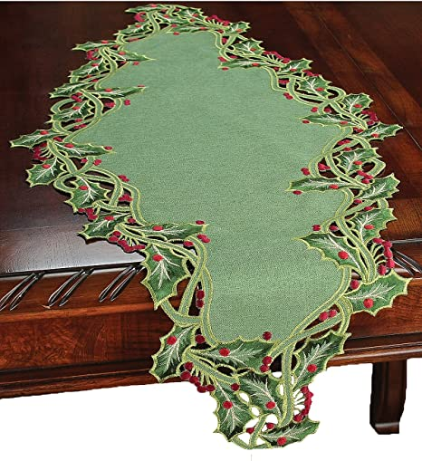 Amazon Com Xia Home Fashions Holiday Holly Embroidered Cutwork Christmas Table Runner 16 By 34 Inch Green Home Kitchen