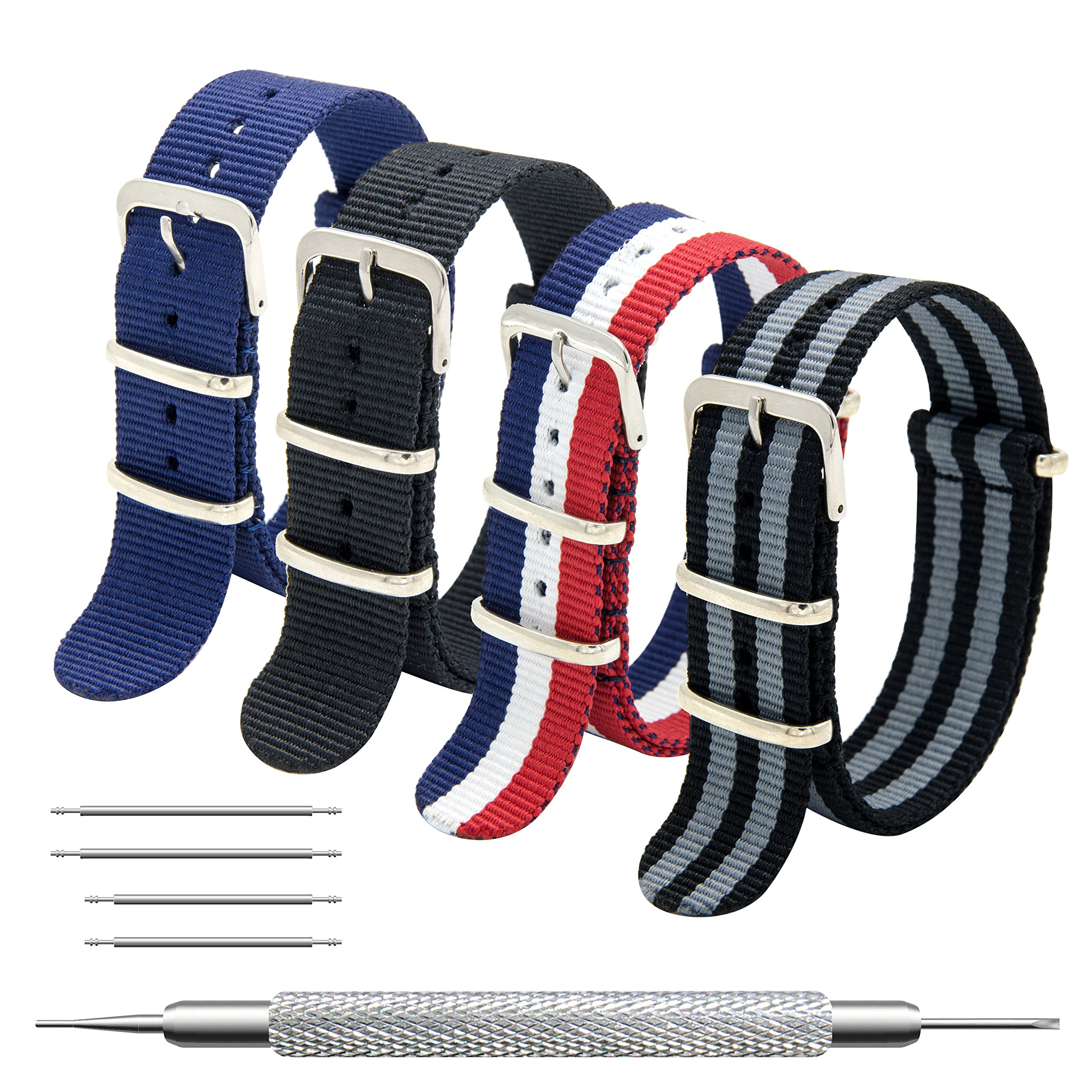 Nato Strap 4 Packs - 20mm 22mm Premium Ballistic Nylon Watch Bands Zulu Style with Stainless Steel Buckle (Black+Black Grey+ Navy Blue+ Red White Navy, 22mm)