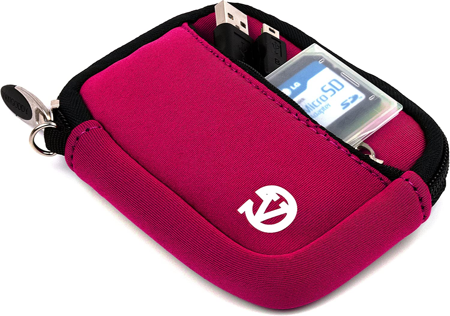 VanGoddy Mini Glove Sleeve Pouch Case for Samsung Point and Shoot Digital Cameras Magenta and Screen Protector and Mini Tripod Stand