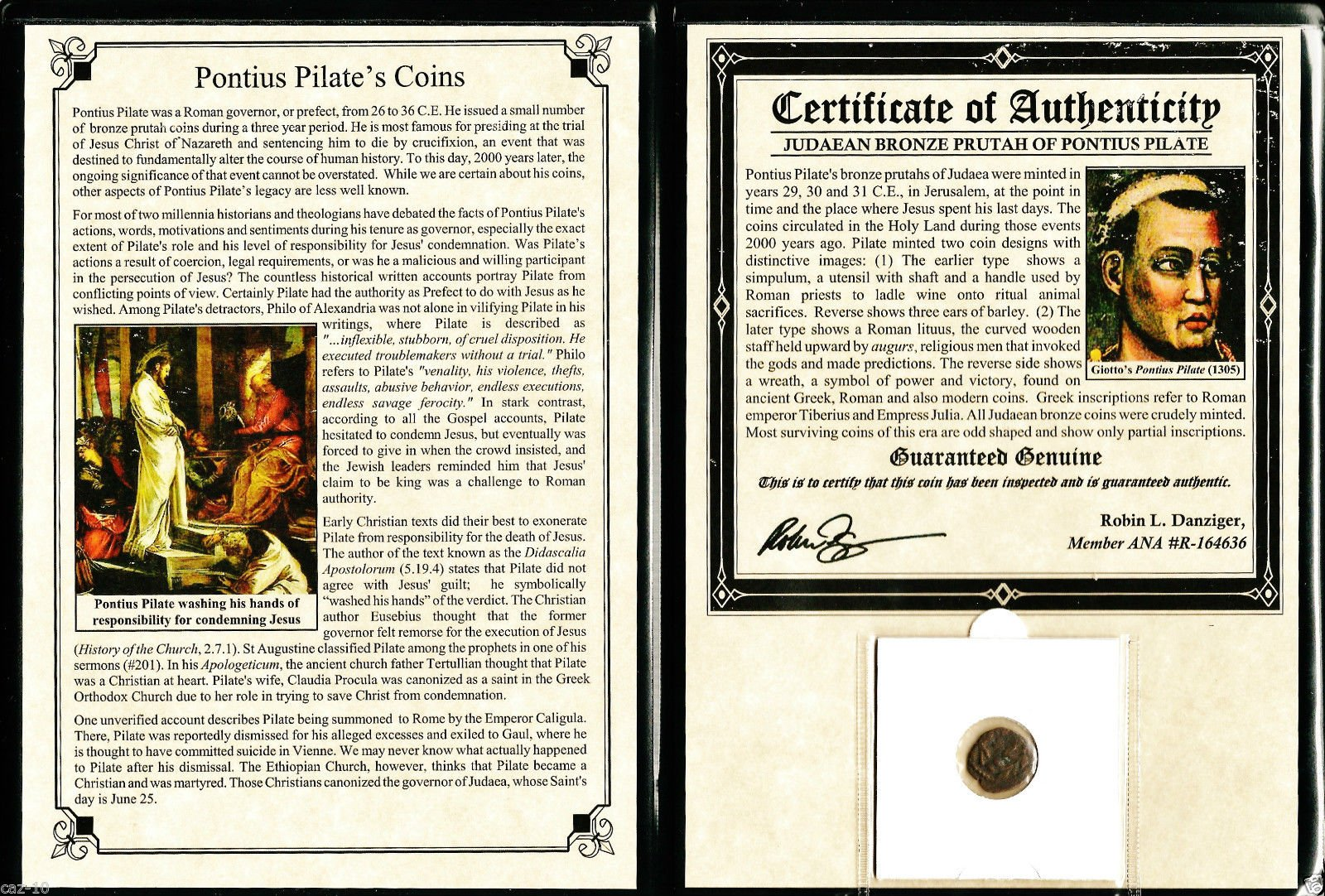 Pontius Pilate Coin with Album and Certificate