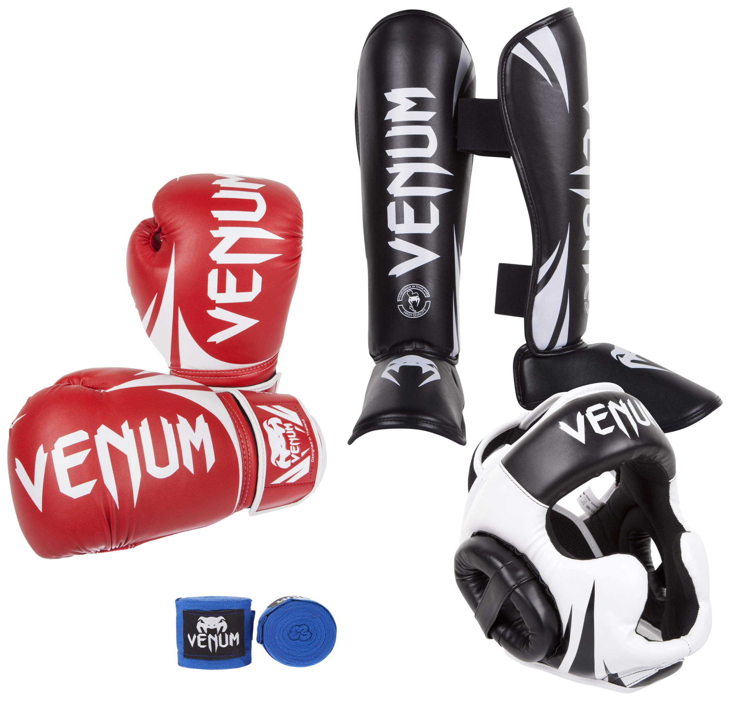 Venum Challenger 2.0 Standup Bundle, Red Gloves, Black Shinguards, Black/White Headgear, Blue Handwraps, 12-Ounces Gloves, Medium Shinguards, Headgear One Size, Handwraps 4M by Venum