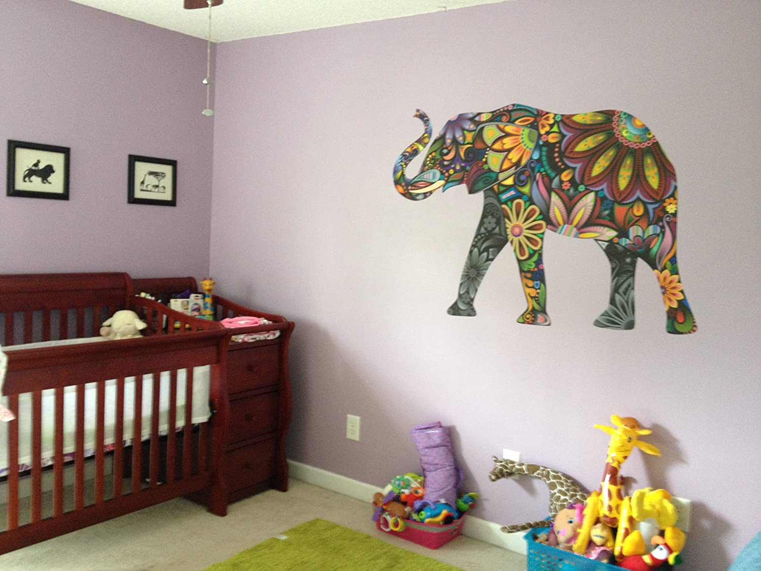 Amazon my wonderful walls elegant elephant wall sticker amazon my wonderful walls elegant elephant wall sticker large and left facing home kitchen amipublicfo Image collections