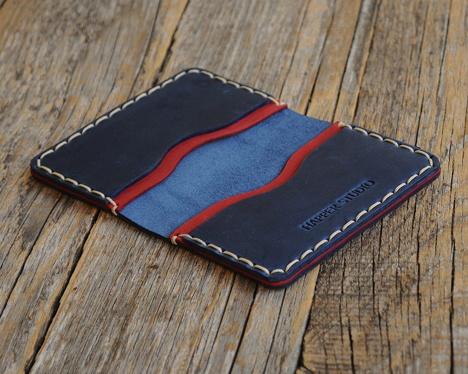 Blue and Red Credit Card Rustic Style Unisex Pouch Personalised Leather Wallet Cash or ID Holder Monogram your Name or Initials