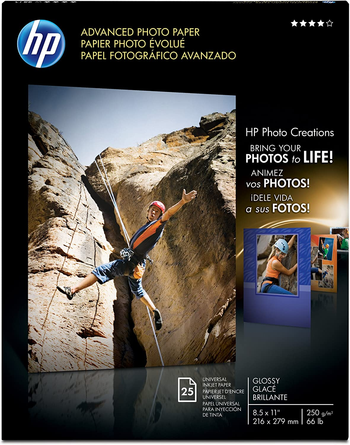 HP Glossy Advanced Photo Paper, 8-1/2 x 11, 25 Sheets per Pack