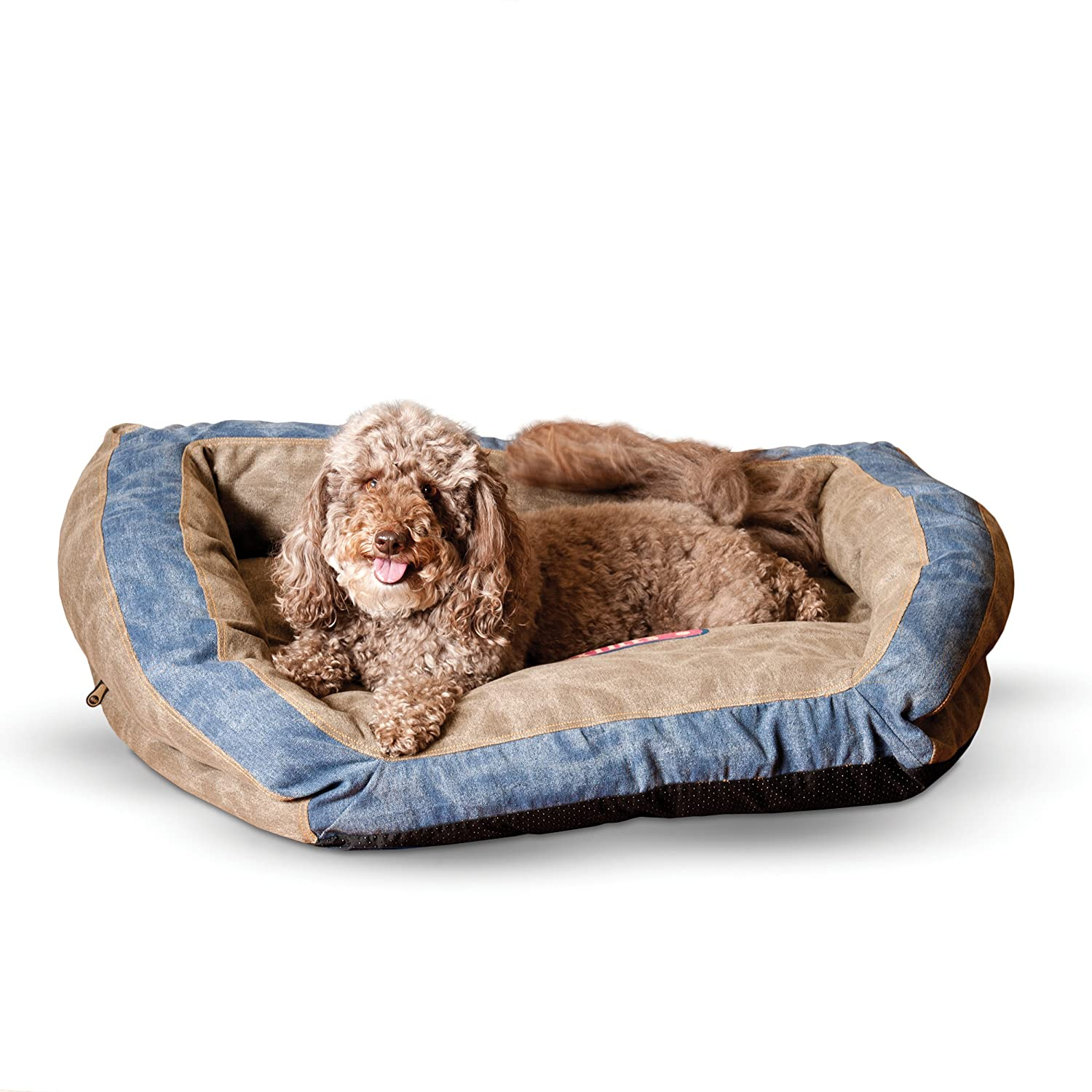 Brown bluee 28 by 40\ Brown bluee 28 by 40\ K&H Manufacturing Premium Logo Bolster Pet Bed, 28 by 40 , Brown bluee