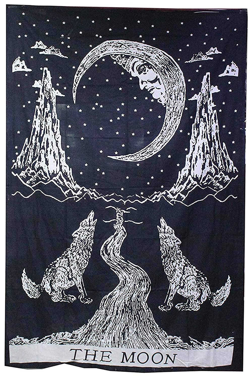 raajsee Black and White Crying Wolf Tapestry Hippie,The Moon Tapestries Wall Hanging Mandala, Indian Cotton Boho Bedspread, Bohemian Bedding, Yoga Mat Rugs Meditation Tapestrys 54x71 Inches