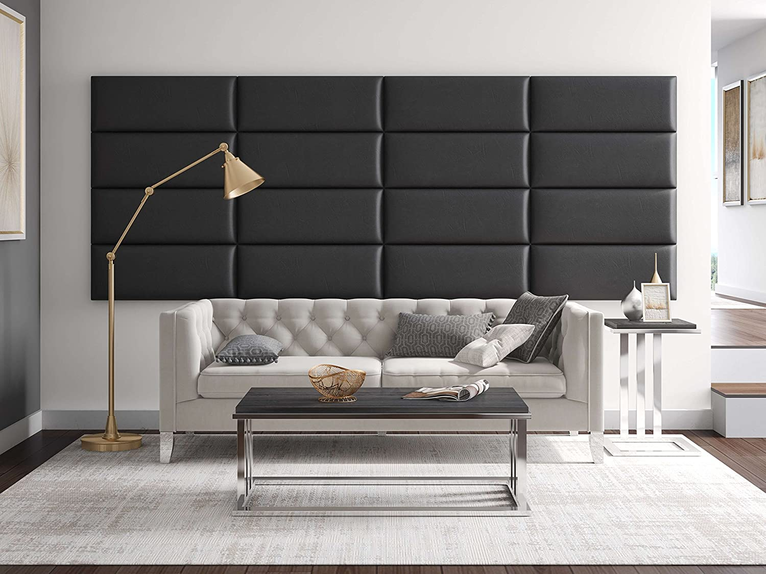 Textured 3D Wall Panels for TV Walls Easy Application Pack of 4 Sofa Background Wall D/écor Vintage Leather Black Coal- 30 Wide x 11.5 Height VANT Decorative Wall Panels