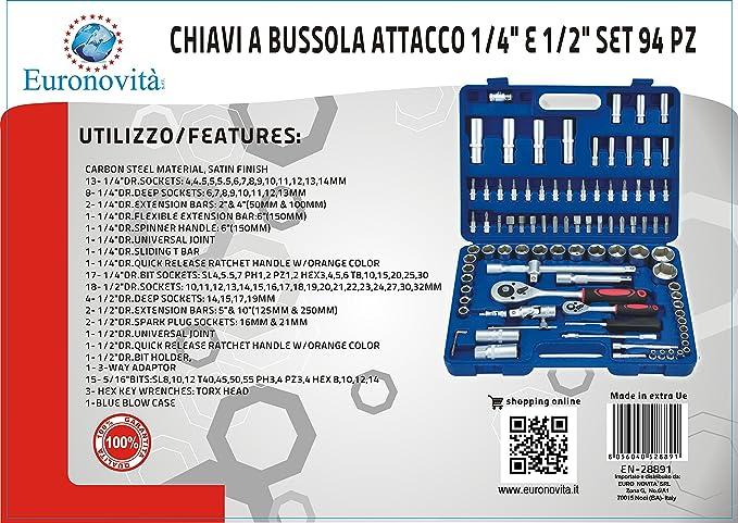 Juego de llaves combinadas de carraca Euronovità EN-28891, 94 piezas, llaves con casquillo e inserciones, herramientas manuales de trabajo: Amazon.es: ...
