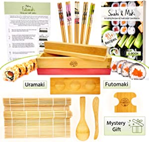 Sushi and Maki Making Kit from Grow Your Pantry - With Sushi Rolling Mat, Bamboo Maki Mold and Japanese Sauce Tray. Plus Chopsticks and Spreader Paddles. The Perfect Gift Set for Sushi Lovers.