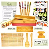 Sushi and Maki Making Kit - With Sushi Rolling Mat, Bamboo Maki Mold and Japanese Sauce Tray. Plus Chopsticks and Spreader Pa