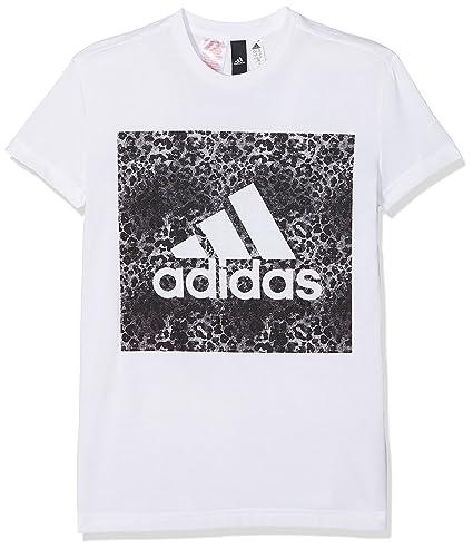 Adidas Yg Logo Loose T Camiseta, Niñas, (Blanco/Negro), 116