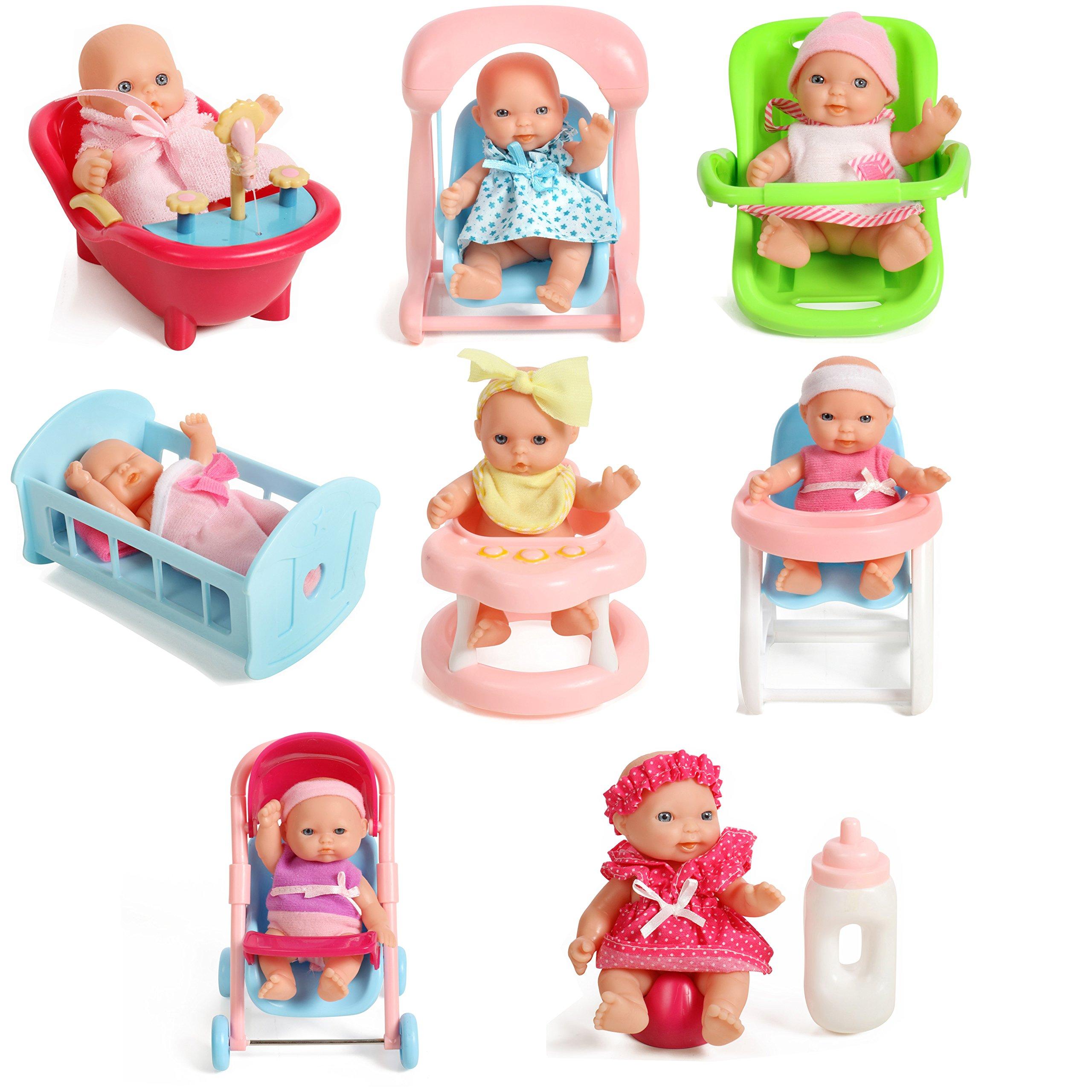 """Set Of 8 Assorted 5"""" Mini Dolls, High Chair, Stroller, Crib, Car Seat, Bath, Potty, Swing,"""