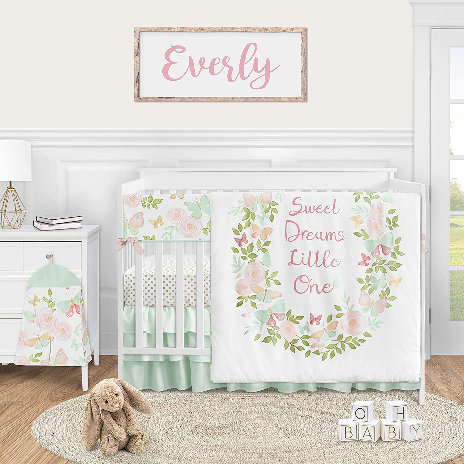 Sweet Jojo Designs Butterfly Floral Baby Girl Nursery Crib Bedding Set - 5 Pieces - Blush Pink Mint and White Shabby Chic Watercolor Rose