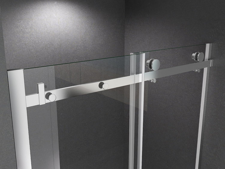 BuyLando Porte de niche moderne Victoria 110x195cm // 8 mm ESG verre de s/écurit/é salle de bain. syst/ème de porte coulissante en verre transparent